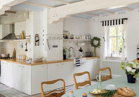 kuchnie drewno i biel