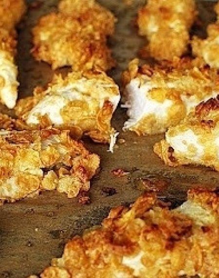 Kurczak z miodem i musztardą zatopiony w płatkach kukurydzianych