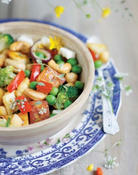 Panir smażony z warzywami