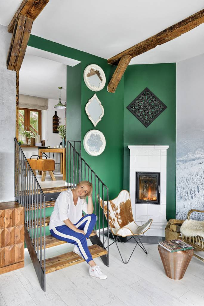 zielone ściany w salonie