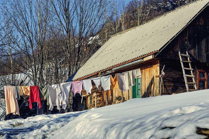 suszenie ubrań zimą